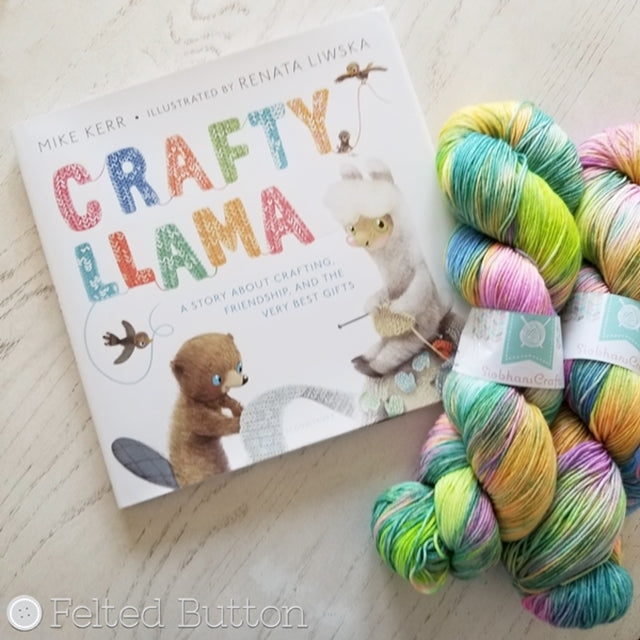 Book review of Crafty Llama by Mike Kerr, Felted Button colorful crochet patterns