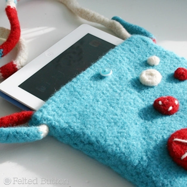 Turquoise felted ipad bag, crossbody with polka dots and embroidery, Susan Carlson of Felted Button | Colorful Crochet Patterns