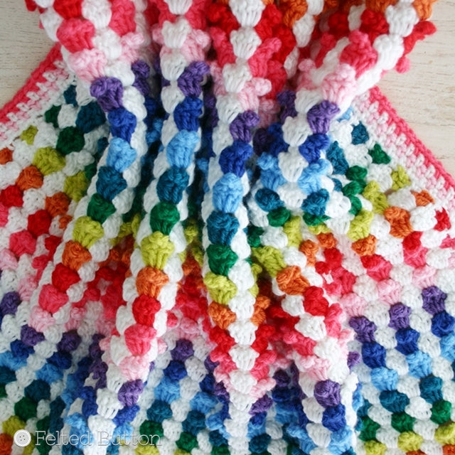 Cuppy Cakes Blanket Afghan for babies or adults that resembles mini cupcakes, crochet pattern by Susan Carlson of Felted Button | Colorful Crochet Patterns