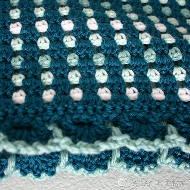 Dit Dah Blanket, ombre crochet blanket in teals and blue, Susan Carlson of Felted Button | Colorful Crochet Patterns