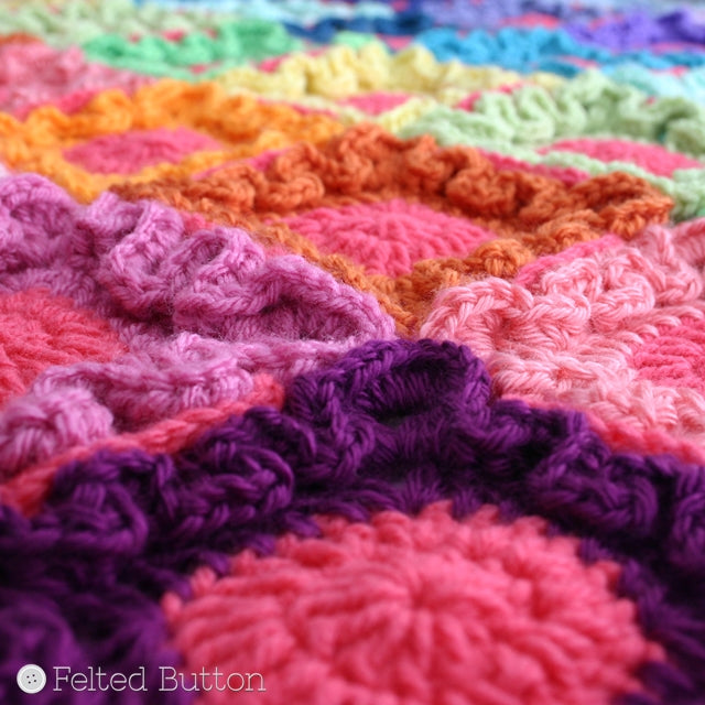 Rainbow of colorful crochet, textured motifs, Doodle Dots Blanket, Susan Carlson of Felted Button | Colorful Crochet Patterns
