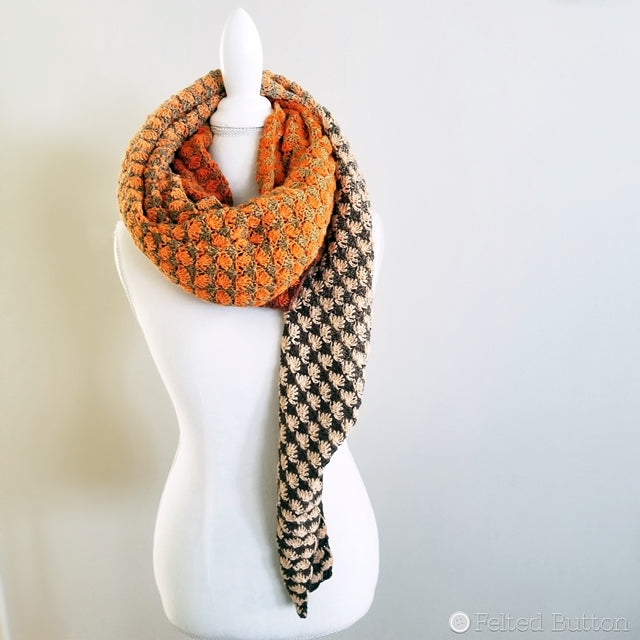 Orange and brown ombre scarf wrap made with 2 Scheepjes Whirls, free crochet pattern by Susan Carlson of Felted Button colorful crochet patterns