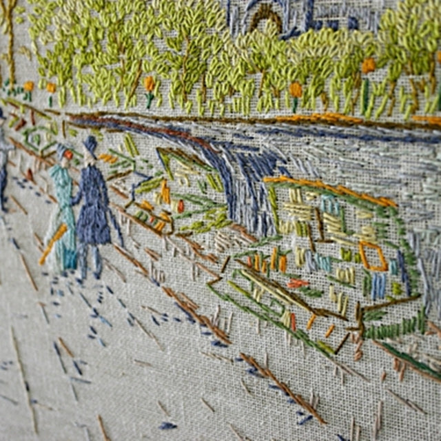 Detailed embroidery of European market street at turn of century, Susan Carlson of Felted Button | Colorful Crochet Patterns