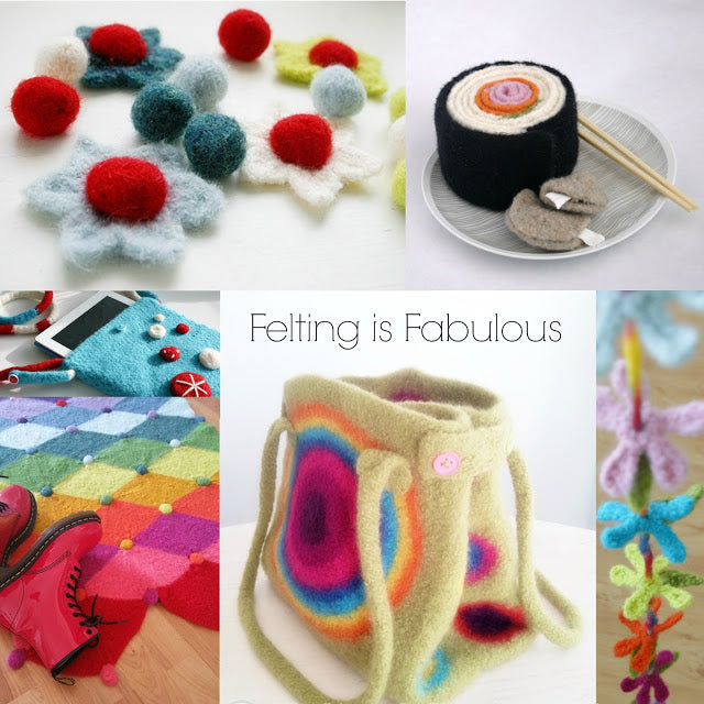 Colorful felted projects, crochet patterns by Susan Carlson of Felted Button | Colorful Crochet Patterns, Felting is Fabulous