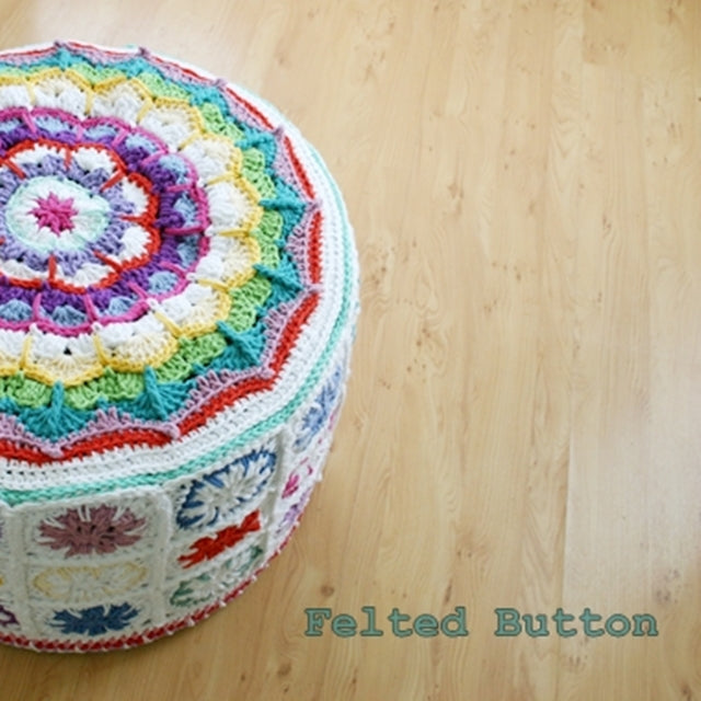 Colorful mandala and granny square crochet footstool cover, by Susan Carlson of Felted Button | Colorful Crochet Patterns