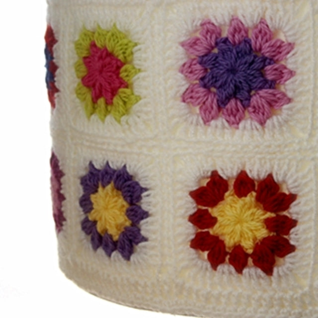 Colorful crochet granny squares with white background as lamp shade cover, by Susan Carlson of Felted Button | Colorful Crochet Patterns
