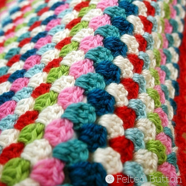 Granny stripe stitch pattern in turqoises, red, pink, green and white, Susan Carlson of Felted Button | Colorful Crochet Patterns