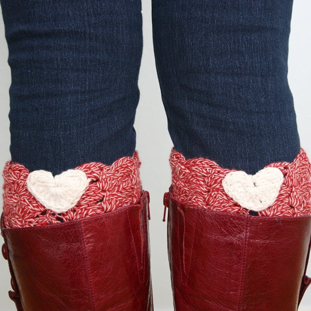 I Heart Boot Cuffs, White hearts on red boot cuffs in red boots, free crochet pattern by Susan Carlson of Felted Button | Colorful Crochet Patterns