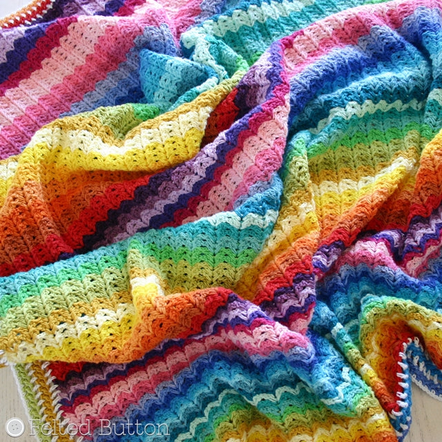 Illuminations Blanket crochet afghan or throw pattern by Susan Carlson of Felted Button | Colorful Crochet Patterns, rainbow striped blanket using Scheepjes Cotton 8