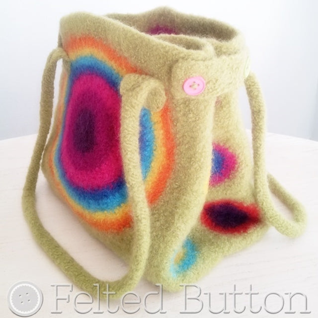 It's Stashing Tote, felted rainbow boho crochet tote bag, purse by Susan Carlson of Felted Button | Colorful Crochet Patterns