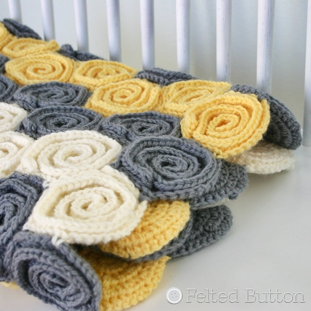 Yellow and gray and white swirls, crochet pattern Let's Twirl Blanket and Rug, Susan Carlson of Felted Button | Colorful Crochet Patterns