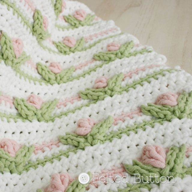 Pink, green and white flowers crochet blanket or pillow pattern by Susan Carlson of Felted Button | Colorful Crochet Patterns, Little Dutch Girl