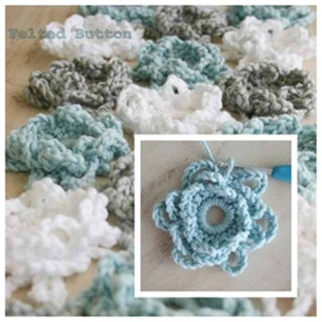 Free crochet pattern Loopsy Daisy Coverlet and Shawl with blue gray and white flowers, by Susan Carlson of Felted Button | Colorful Crochet Patterns