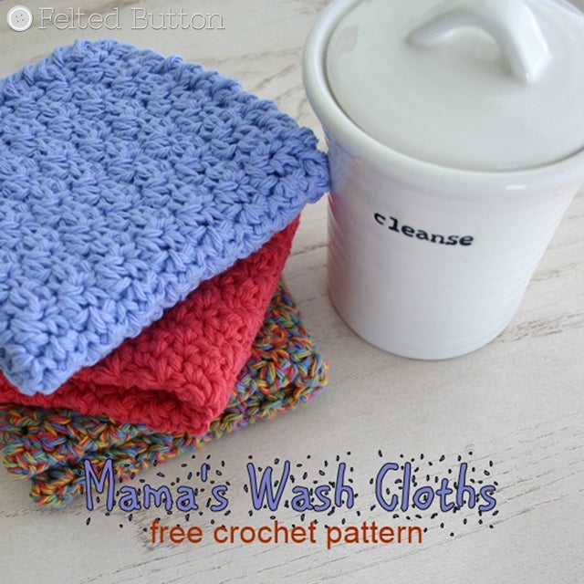 Mama's Wash Cloths free crochet pattern, blue red and rainbow cloths, crocheted by Susan Carlson of Felted Button | Colorful Crochet Patterns