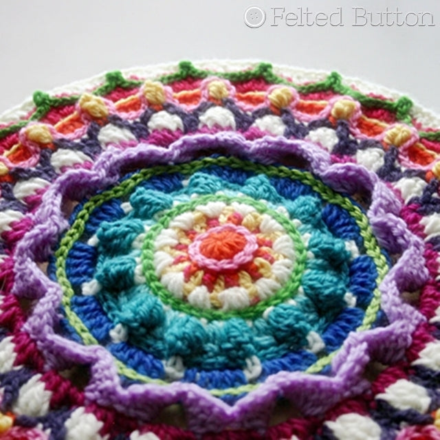 Textured rainbow crochet mandala close-up, Mandala and Stool Cover crochet pattern by Susan Carlson of Felted Button | Colorful Crochet Patterns
