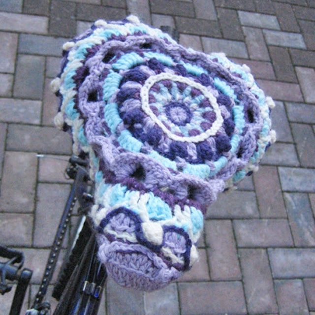 Mandala in purple used at bike seat cover, Susan Carlson of Felted Button | Colorful Crochet Patterns