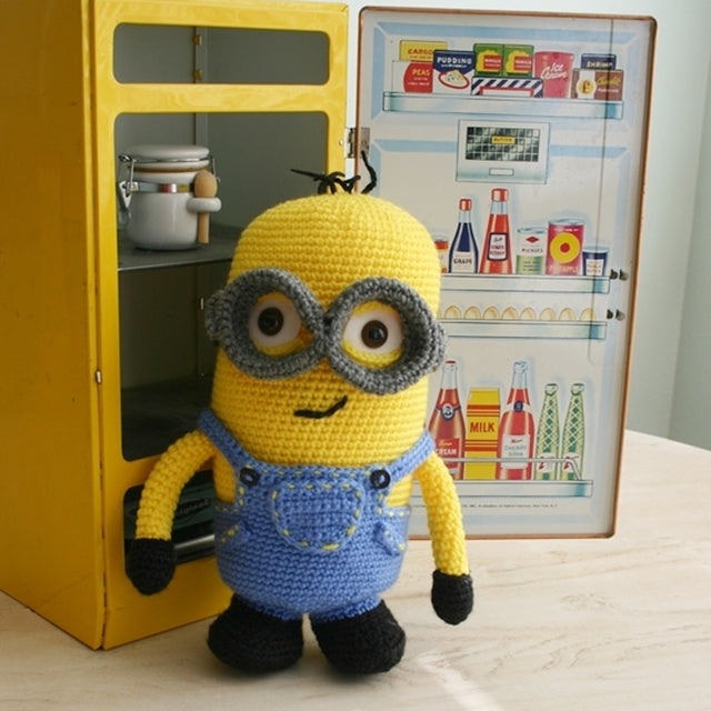 Crochet amigurumi minion with goggles and overalls, Susan Carlson of Felted Button | Colorful Crochet Patterns