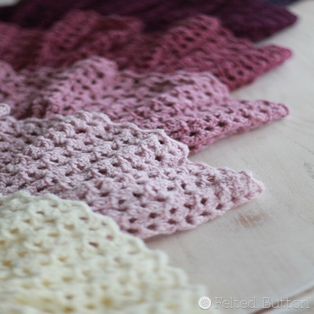 Ombre Ruffle Blanket in white to pink to burgundy, crochet baby blanket pattern by Susan Carlson of Felted Button | Colorful Crochet Patterns