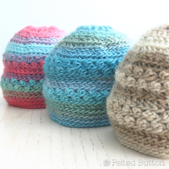 Small newborn crochet hats in blue, red and tan, free crochet pattern by Susan Carlson of Felted Button | Colorful Crochet Patterns, Only Just Born Hat