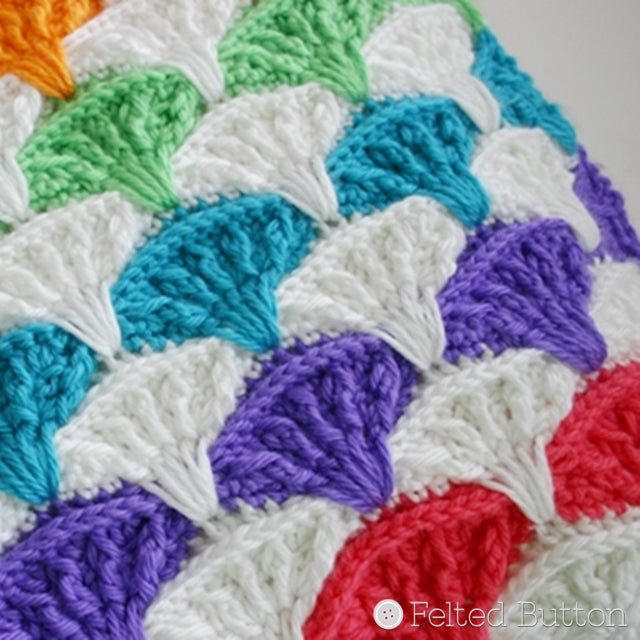Paintbrush Blanket Afghan and Pillow crochet patterns by Susan Carlson of Felted Button | Colorful Crochet Patterns