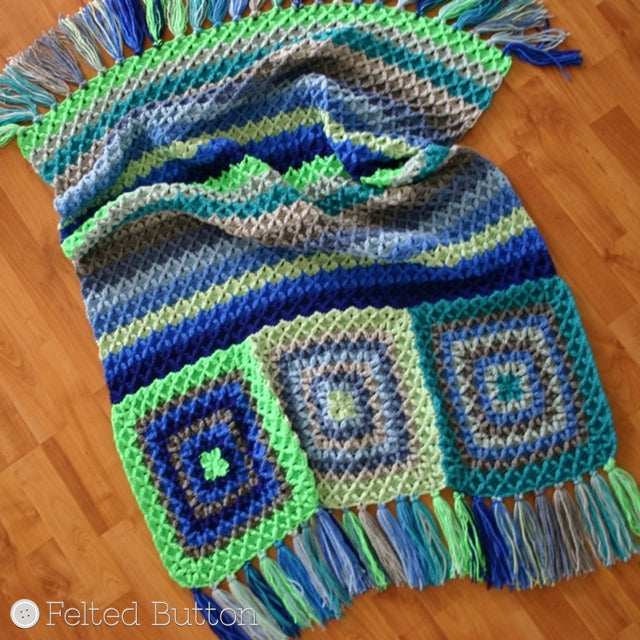 Blues and greens, textured blanket in stripes and granny squares; Parrotlet's Flight Blanket by Susan Carlson | Felted Button | Colorful Crochet Patterns
