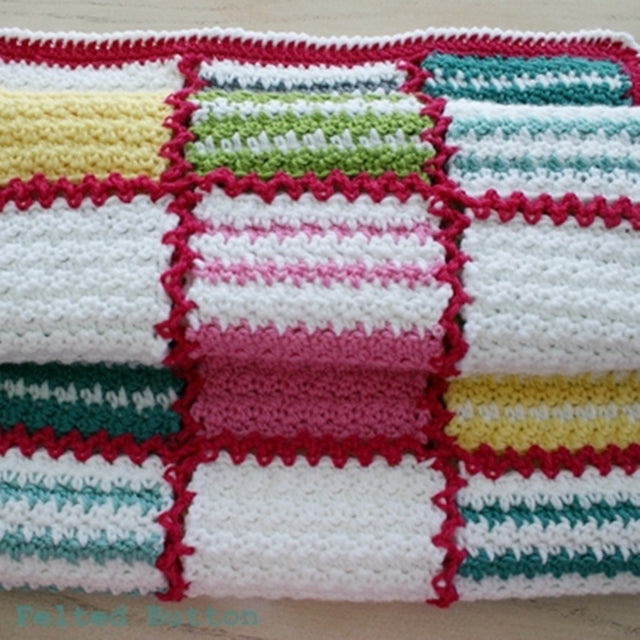 Patch Me a Line crochet blanket pattern in stripes and rectangles of many colors, by Susan Carlson of Felted Button | Colorful Crochet Patterns
