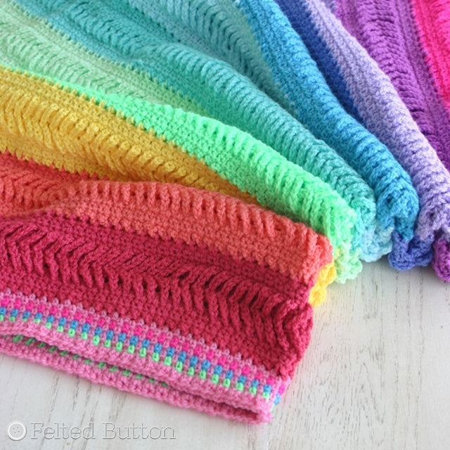 Plaited Throw, rainbow colored and textured afghan crochet pattern by Susan Carlson of Felted Button | Colorful Crochet Patterns