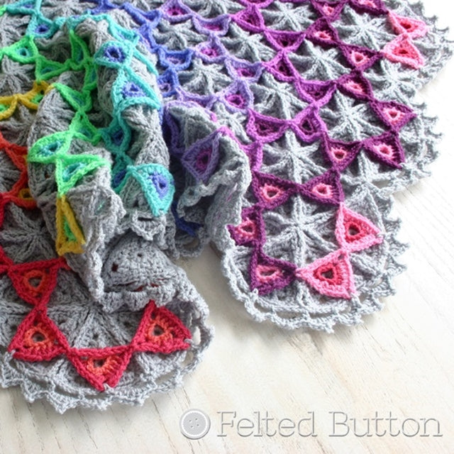 Layered triangles with rainbow of colorful triangles after neutral base triangles, Prism Blanket, crochet afghan pattern  by Susan Carlson of Felted Button colorful crochet patterns