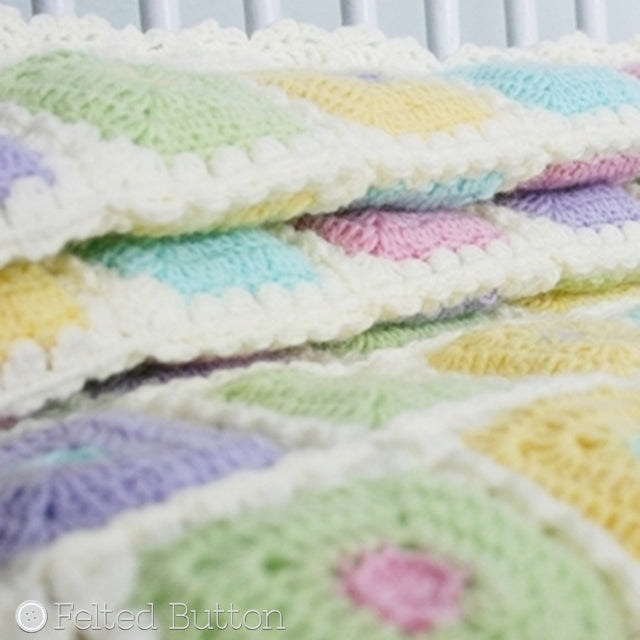 Pastel crochet baby blanket or quilt, Puffy Patch Blanket by Susan Carlson of Felted Button | Colorful Crochet Patterns