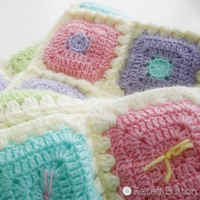 Puffy Patch Blanket, crochet blanket with pastel granny squares, Susan Carlson of Felted Button | Colorful Crochet Patterns