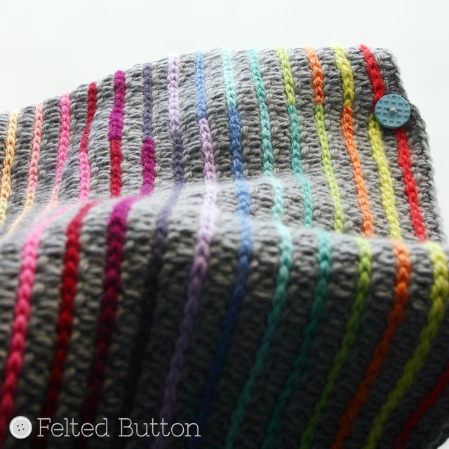 Rainbow surface crochet stripes on grey fabric, by Susan Carlson of Felted Button | Colorful Crochet Patterns