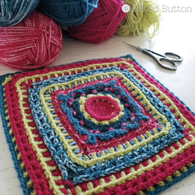 Rinske Square, crochet motif pattern with texture using 3 colors, by Susan Carlson | Felted Button | Colorful Crochet Patterns