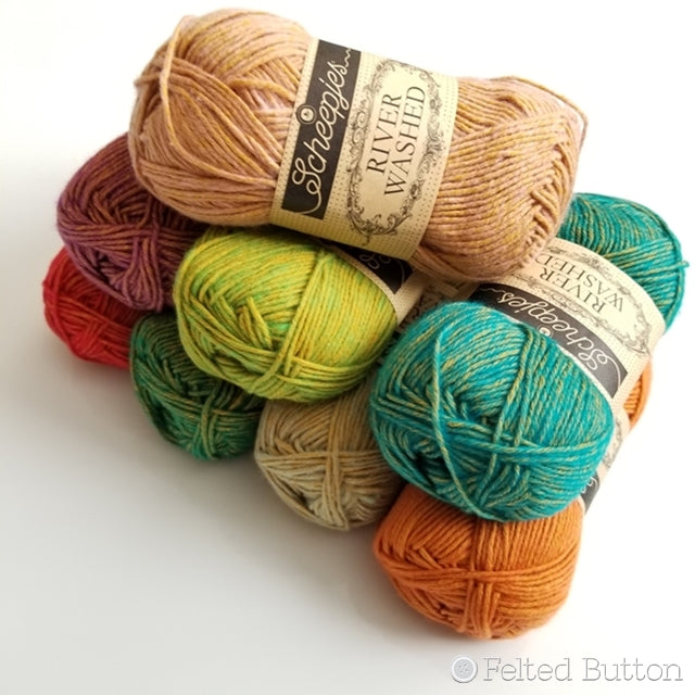 Yarn review of Scheepjes RiverWashed new colors by Susan Carlson of Felted Button, colorful crochet patterns