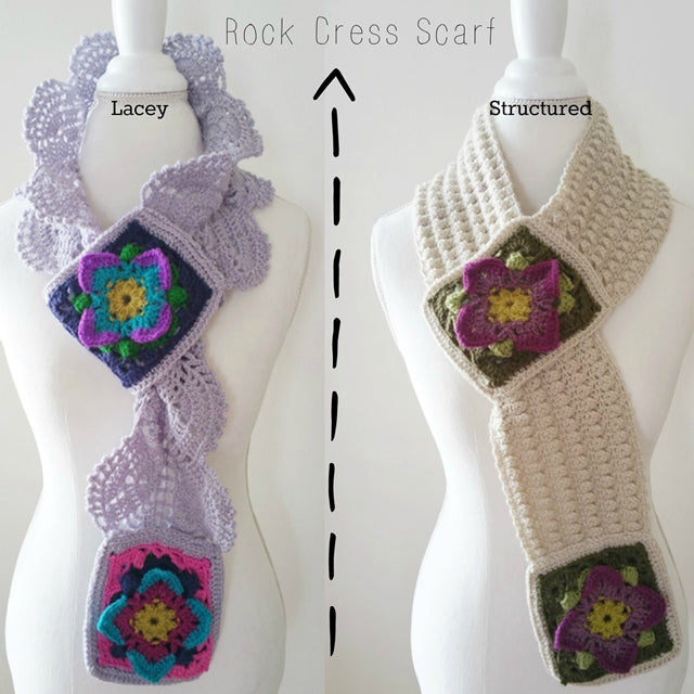 Comparison of two similar scarves, one lacey and one structured, Rock Cress Scarves crochet pattern by Susan Carlson of Felted Button | Colorful Crochet Patterns