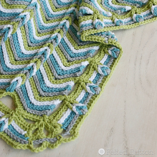 Rolling Ridge Blanket crochet pattern in blues and greens, by Susan Carlson of Felted Button | Colorful Crochet Patterns