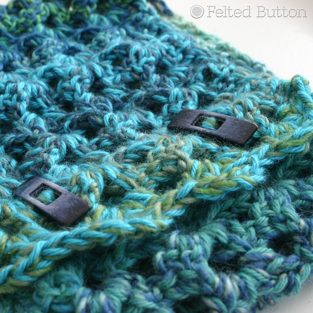 Blues and greens, cowl with toggle buttons, crochet pattern by Susan Carlson of Felted Button | Colorful Crochet Patterns