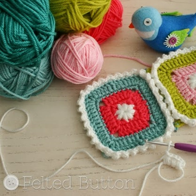 Crochet motifs in pinks and greens by felted bird and yarn, Susan Carlson of Felted Button | Colorful Crochet Patterns