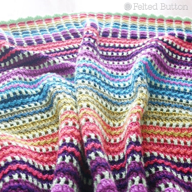 Skittles Blanket, Rainbow striped and textured crochet blanket in Jewel tones, free crochet pattern by Susan Carlson of Felted Button colorful crochet patterns