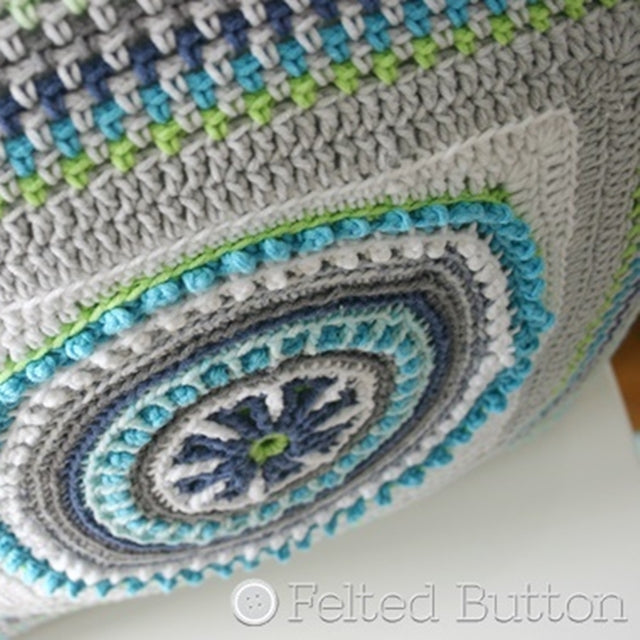 Mandala Pillow crochet pattern part of 3 Taking Shape Pillows in blues, green, white and gray by Susan Carlson of Felted Button | Colorful Crochet Patterns