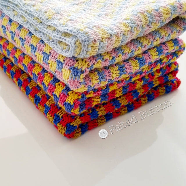 Trio Blanket made with 3 ombre Scheepjes Whirls in red yellow and blue, free crochet pattern  by Susan Carlson of Felted Button colorful crochet patterns