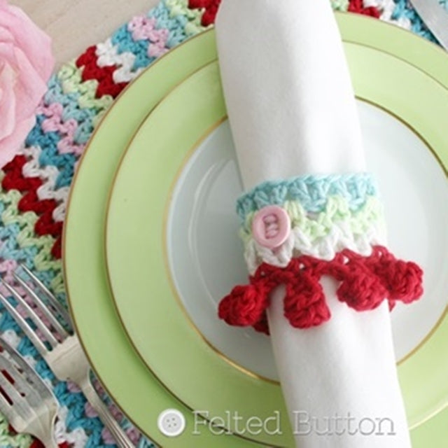 V-Stitch Placemat and Napkin Ring crochet pattern in cath kidston colors of pink and red and turquoise and pale green, free crochet pattern for table decor by Susan Carlson of Felted Button | Colorful Crochet Patterns
