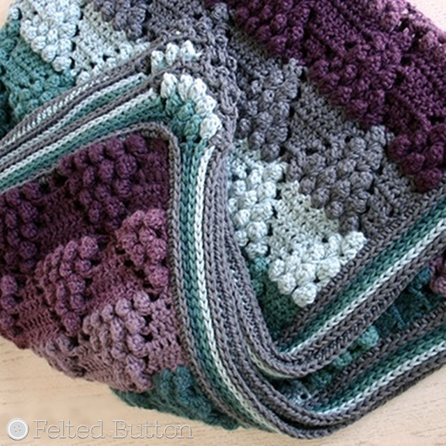 Vintage Vineyard Blanket, crochet throw or afghan in burgundy, teal and gray, crochet pattern by Susan Carlson of Felted Button | Colorful Crochet Patterns