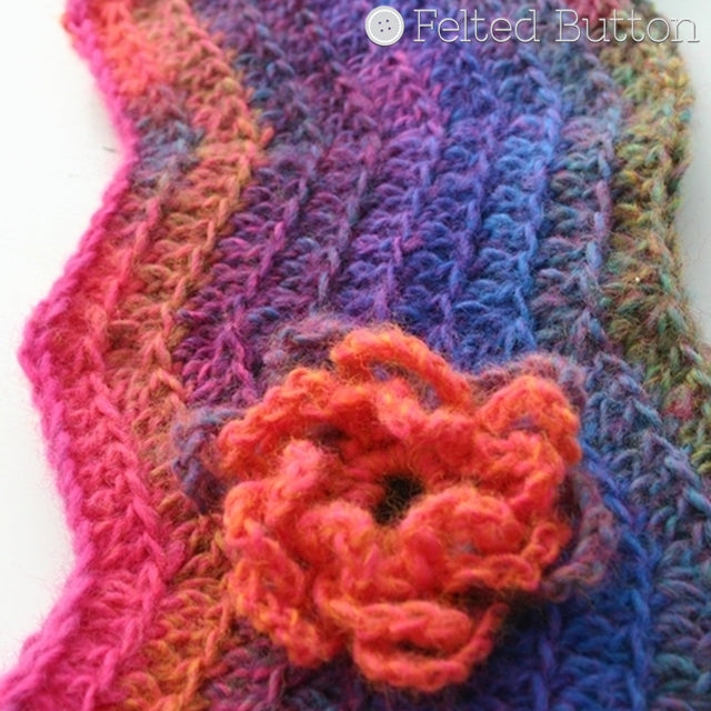 Watercolor Waves Cowl, free crochet pattern in bright jewel colors, Susan Carlson of Felted Button | Colorful Crochet Patterns