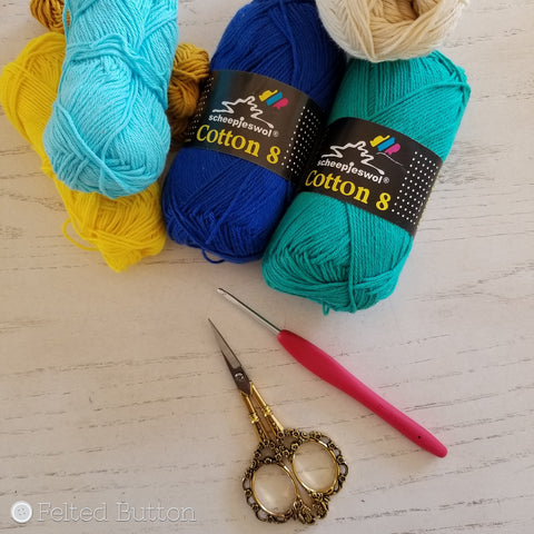 Scheepjes Cotton 8 yarn used by Felted Button | Colorful Crochet Patterns