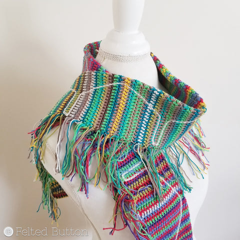 Neighborhood Scarf -- free crochet pattern and tutorial made with Scheepjes Cotton 8 yarn by Susan Carlson of Felted Button | Colorful Crochet Patterns