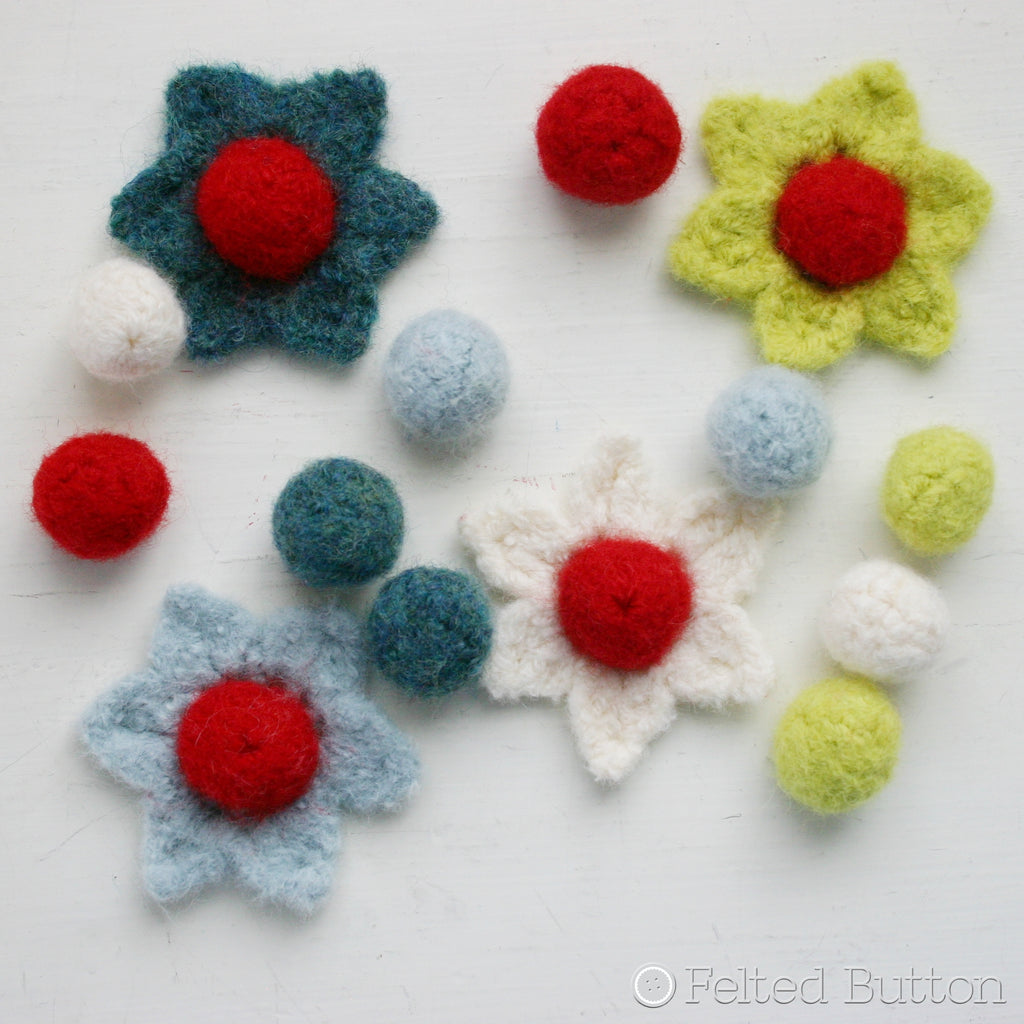 Berries and Blooms Felted garland or bunting or hanging ornament crochet pattern by Susan Carlson of Felted Button to decorate in your home