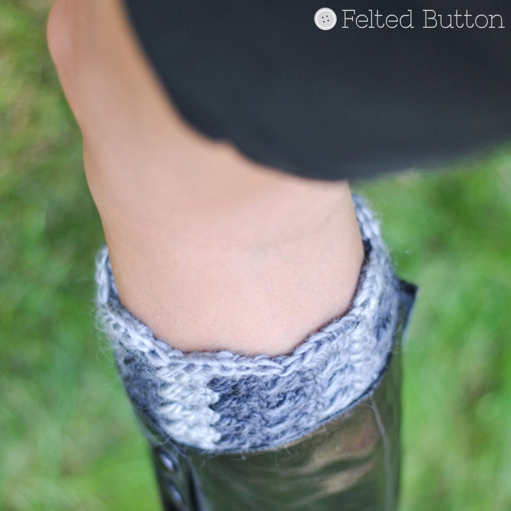 Boot Cuffs | Crochet Pattern | Felted Button