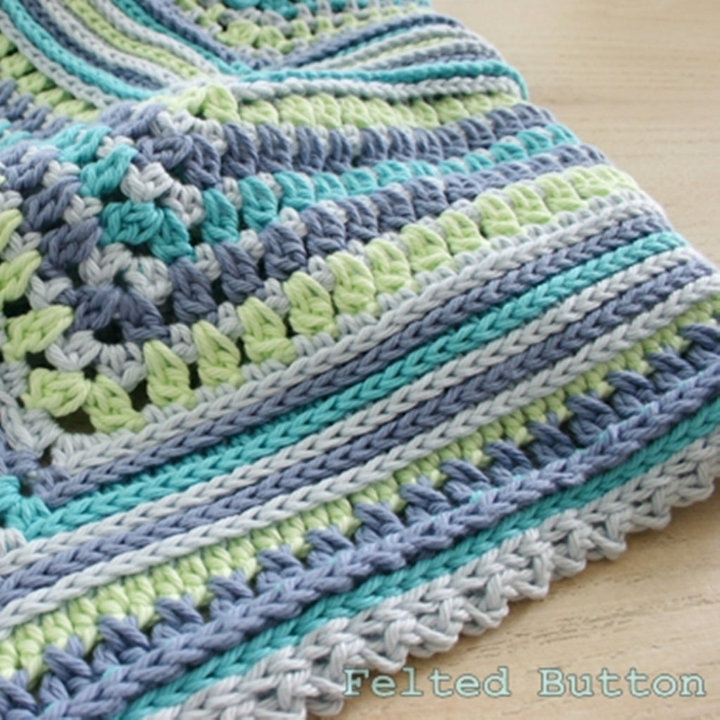 Breath of Heaven Blanket crochet pattern, blue and green baby blanket by Susan Carlson of Felted Button