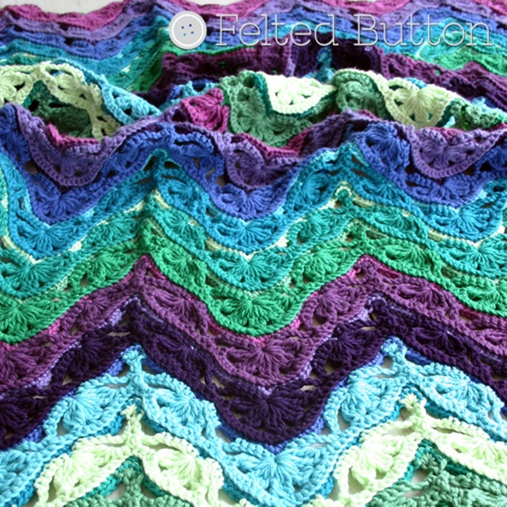 Brighton Blanket crochet pattern by Susan Carlson of Felted Button, blues and purples ripple pattern afghan in cotton