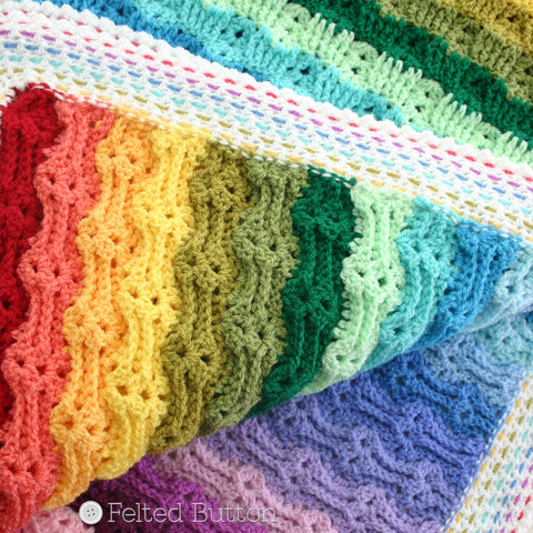 Chasing Rainbows Blanket | Crochet Pattern | Felted Button